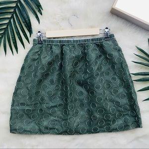 J.Crew Green Polka Dot Skirt